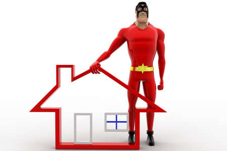 high five: 3d superhero with home icon and giving high five concept on white background, front angle view Stock Photo