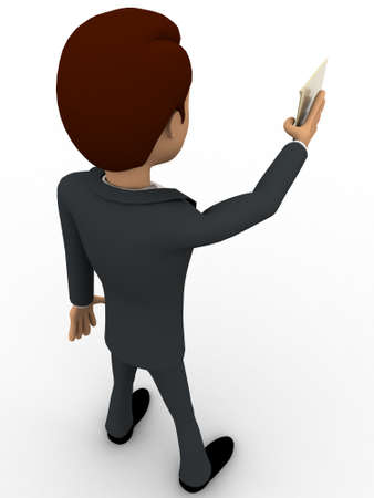 top angle view: 3d man giving mail concept on white background, top angle view