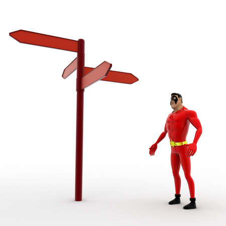 looking at view: 3d superhero looking at red road sign board concept on white background, side angle view