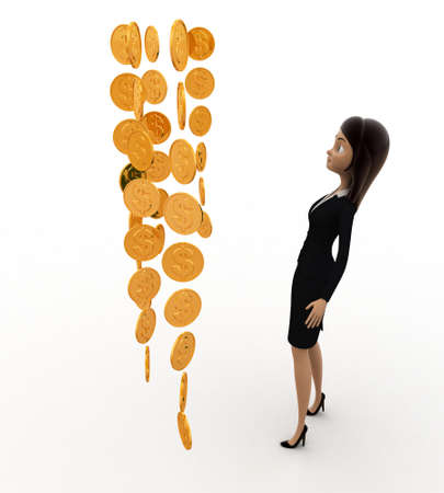 looking at view: 3d woman looking at rain concept on white background, side angle view Stock Photo