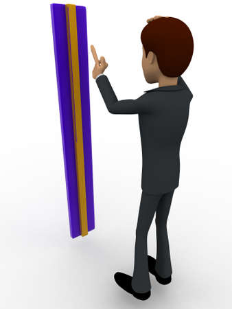 man measurement: 3d man confused with measurement concept on white background, front angle view