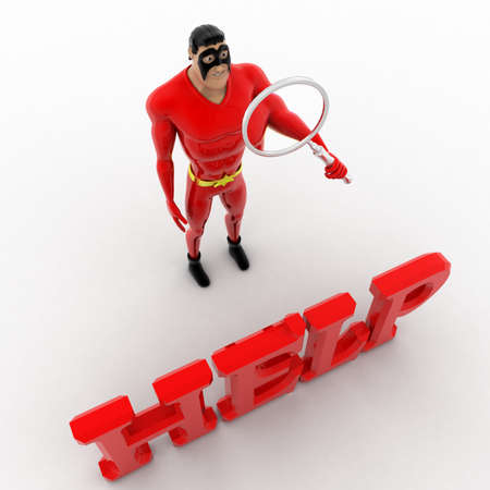 3 dimensions: 3d superhero search for help using magnifying glass concept on white background, top angle view