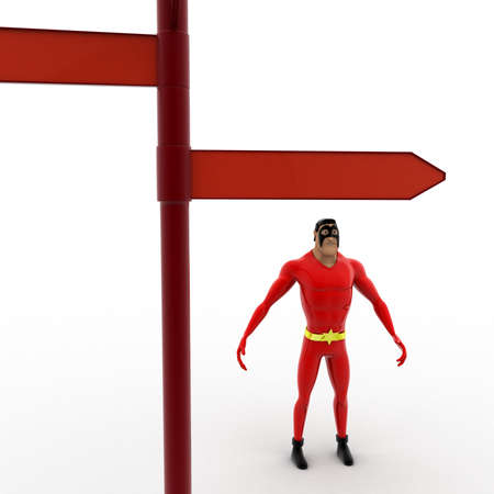 looking at view: 3d superhero looking at red road sign board concept on white background, zoom front angle view Stock Photo