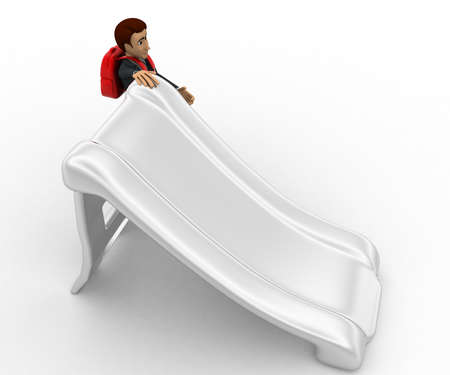 beside: 3d man with bag and stading beside slide concept on white background, top angle view Stock Photo