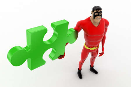 red puzzle piece: 3d superhero holding red puzzle piece concept on white background, top angle view