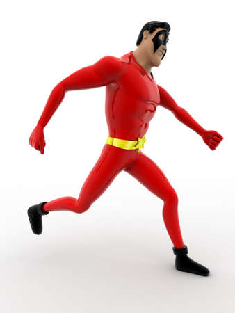 side angle pose: 3d superhero in walking pose concept on white background,  side angle view