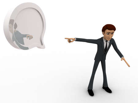 man pointing: 3d man pointing at  chat bubble concept on white background, top angle view Stock Photo