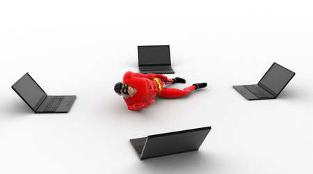 3 dimensions: 3d superhero resting between four laptops concept on white background, side angle view