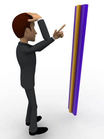 man measurement: 3d man confused with measurement concept on white background, side angle view