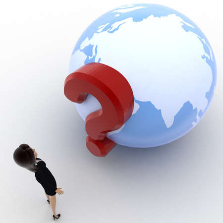 looking at view: 3d woman looking at question mark on globe concept on white background, top angle view Stock Photo