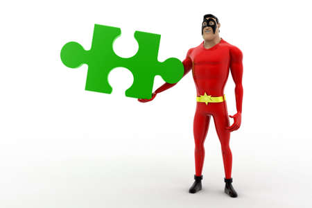 red puzzle piece: 3d superhero holding red puzzle piece concept on white background, front angle view