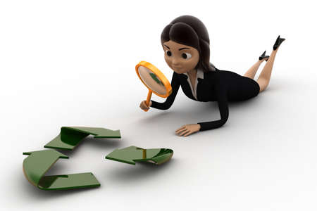3 dimensions: 3d woman examine recycle icon concept on white background,  side  angle view