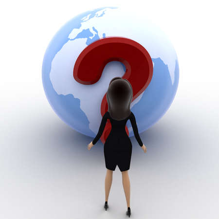 looking at view: 3d woman looking at question mark on globe concept on white background, front angle view