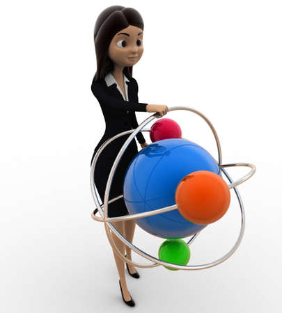top model: 3d woman with model of atom concept on white background,  top angle view Stock Photo