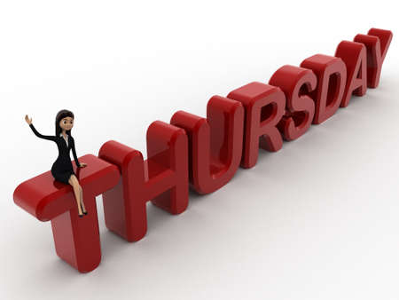 thursday: 3d woman sitting on thursday concept on white background,  top angle view Stock Photo