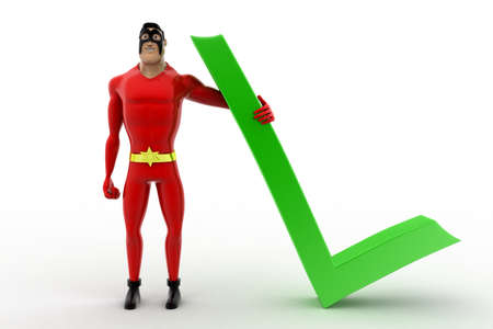 angle: 3d superhero with red right symbol concept on white background, front angle view