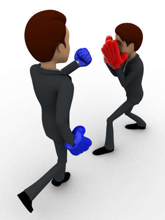 top angle view: 3d man block punch with boxling gloves concept on white background, top angle view Foto de archivo