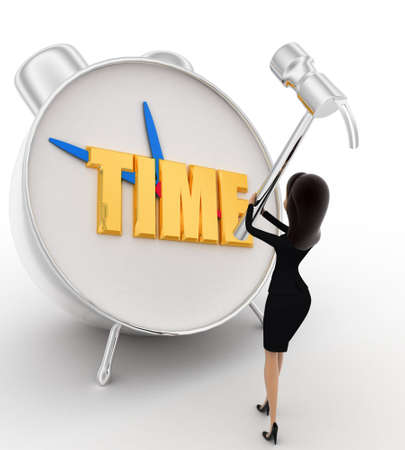 lady clock: 3d woman hit alarm clock with hammer concept on white background, front angle view Stock Photo