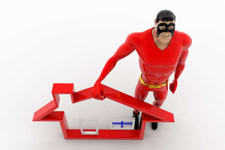 high angle view: 3d superhero with home icon and giving high five concept on white background, top angle view