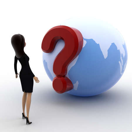 3 dimensions: 3d woman looking at question mark on globe concept on white background, side angle view