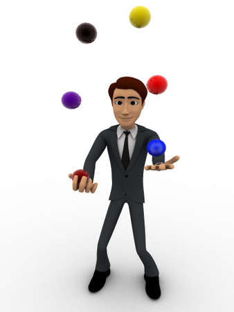 juggle: 3d man juggle colourful ball concept on white background, front angle view