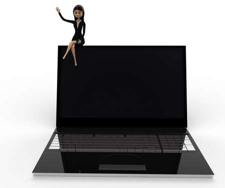 3 dimensions: 3d woman sitting on laptop concept on white background, front angle view