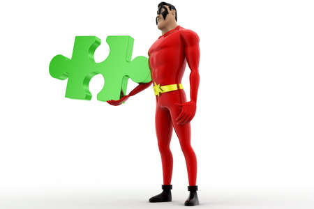 red puzzle piece: 3d superhero holding red puzzle piece concept on white background, low angle view