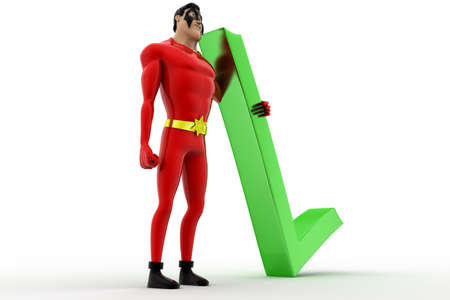 3 dimensions: 3d superhero with red right symbol concept on white background, side angle view Stock Photo