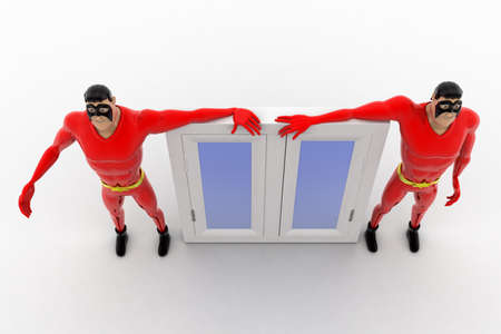 window view: 3d superhero with glass window concept on white background,  top angle view Stock Photo