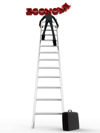3 dimensions: 3d man climb ladder to reach economy text concept on white background, low angle view