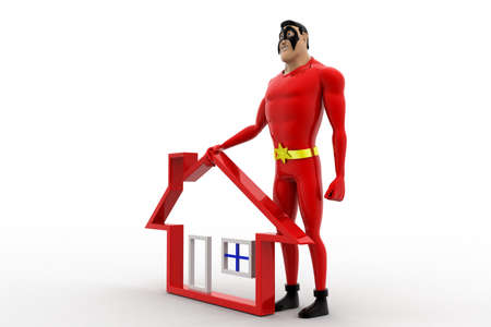 high angle view: 3d superhero with home icon and giving high five concept on white background, side angle view