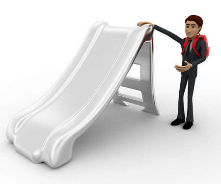 beside: 3d man with bag and stading beside slide concept on white background, front angle view