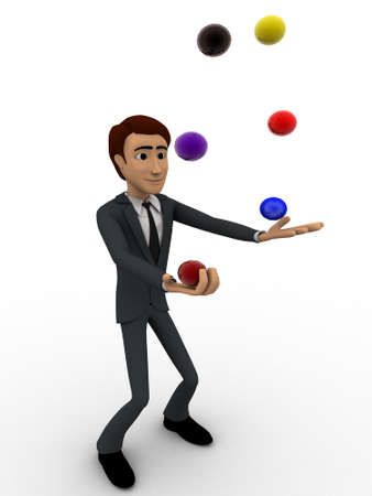 juggle: 3d man juggle colourful ball concept on white background,  side angle view