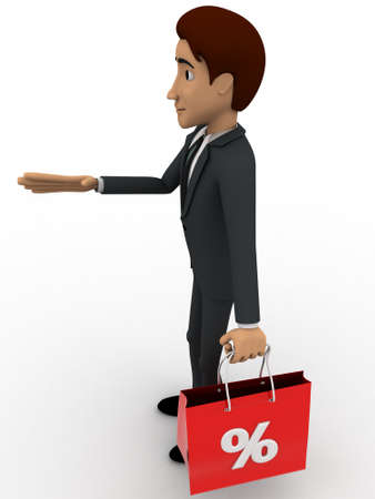 3 dimensions: 3d man with discount bag concept on white background, side angle view