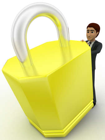 3 dimensions: 3d man with big lock and key concept on white background, top  angle view