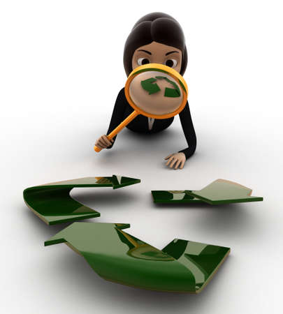 examine: 3d woman examine recycle icon concept on white background, front angle view Stock Photo