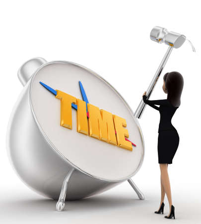 lady clock: 3d woman hit alarm clock with hammer concept on white background, low angle view Stock Photo