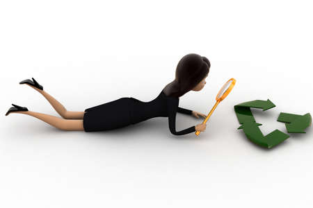 examine: 3d woman examine recycle icon concept on white background,  top angle view