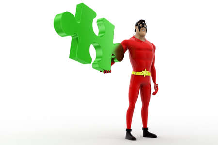 red puzzle piece: 3d superhero holding red puzzle piece concept on white background, side angle view Stock Photo