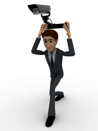cctv security: 3d man holding cctv security camera on head concept on white background, front angle view