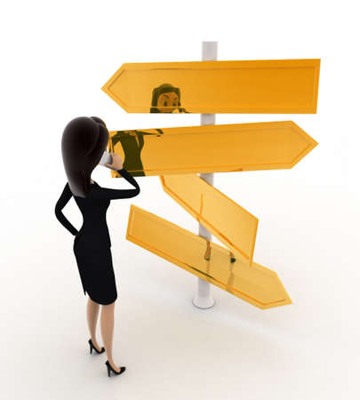 looking at view: 3d  woman looking at road sign board to find direction concept on white background, back angle view
