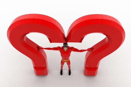 between: 3d superhero  standing between question mark concept on white background, top angle view