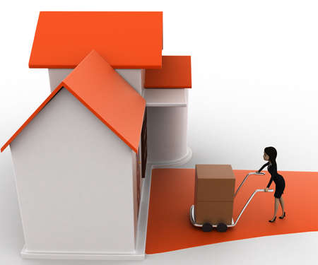 handtruck: 3d woman drive handtruck with box into house concept on white background, side top angle view