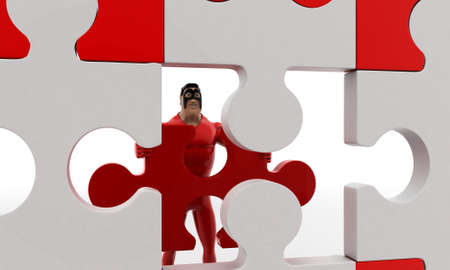 put: 3d superhero  put last piece of puzzle on puzzle concept on white background, front angle view