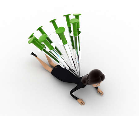 under view: 3d woman under many injection concept on white background,  top angle view