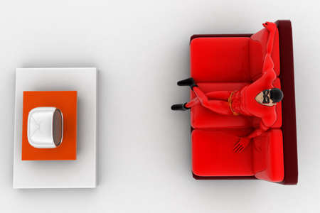 watching 3d: 3d superhero  watching tv concept on white background, top  angle view