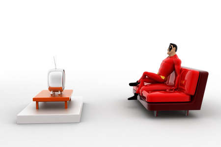 watching 3d: 3d superhero  watching tv concept on white background,  side  angle view
