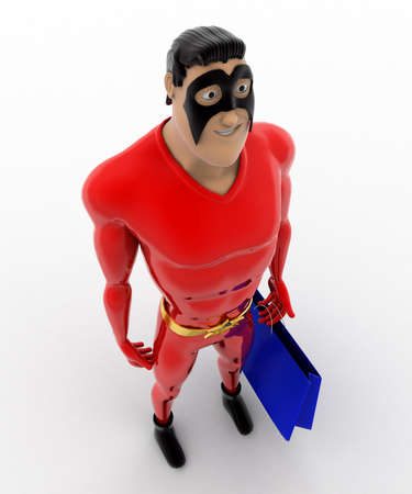 three dimensions: 3d superhero  with blue bag concept on white background,  top angle view