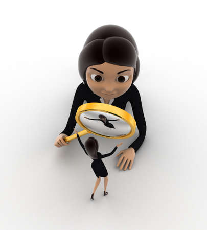 looking at view: 3d woman looking through magnifying glass small woman concept on white background, front angle view