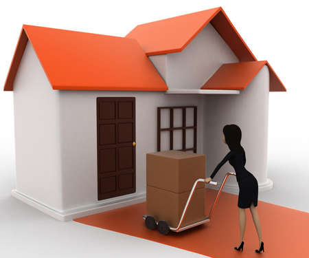 handtruck: 3d woman drive handtruck with box into house concept on white background, side angle view Stock Photo